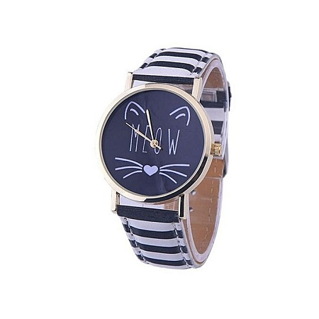 Watches for women Cat Pattern Faux Leather Band Simple relogio feminino Analog Quartz Vogue Wrist Watch Brown kiity cat watches