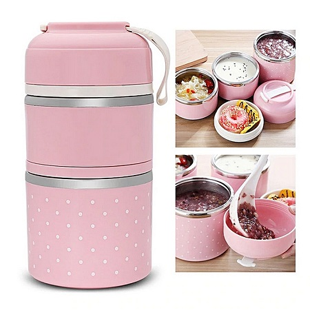 Thermal Lunch Box Stainless Steel -Pink