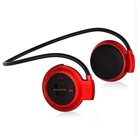 Mini 503 Mini503 Bluetooth 4.0 FM Sport Headset Wireless Headphones Music Stereo Headphones-Red