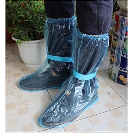 1Pair Reusable Waterproof Rain Shoe Covers Anti-Slip Overshoes(L) Blue