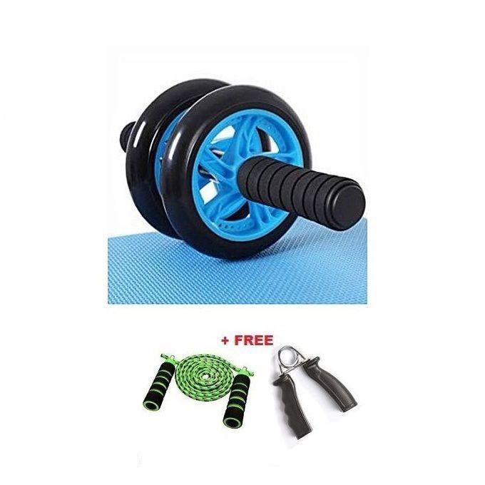 AB Wheel Abs Roller+Knee Mat+multicolour Free Rope+HandGrip