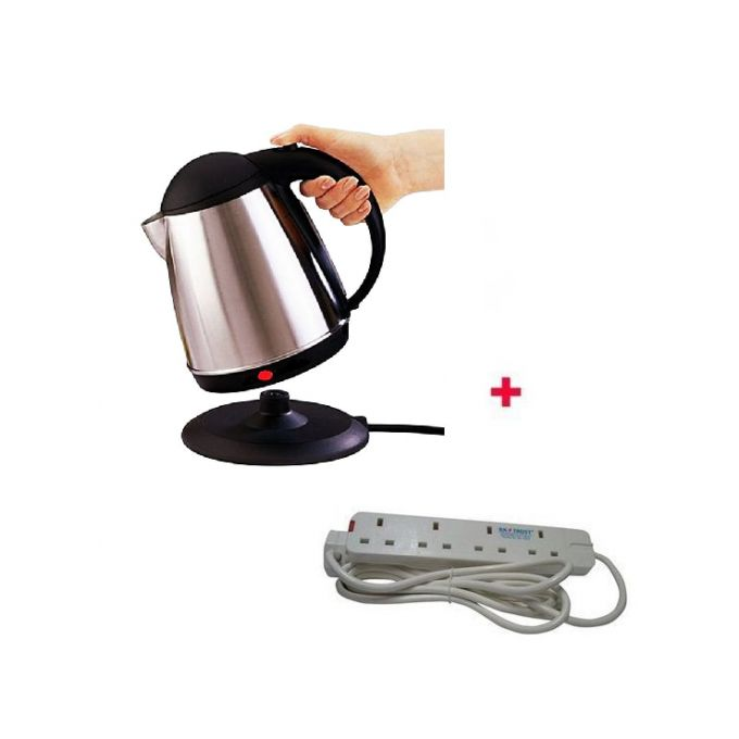 AILYONS Cordless Elect Kettle With Free 4-Way Ext Cable- Silver.