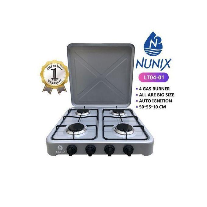 Nunix 4 Burner Table Top Gas Cooker Stove - Metallic Grey