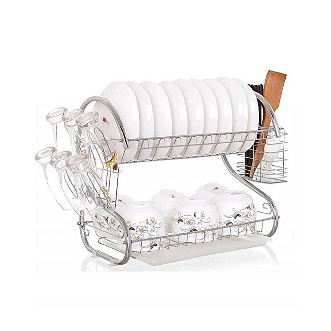 Nunix Dish Rack Kitchen Utensils/ Organizer-Silver