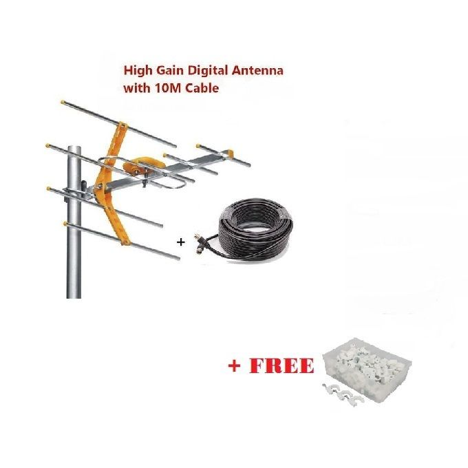 Phelistar Digital TV Aerial + 10mtr Cable + Free Cable Clips