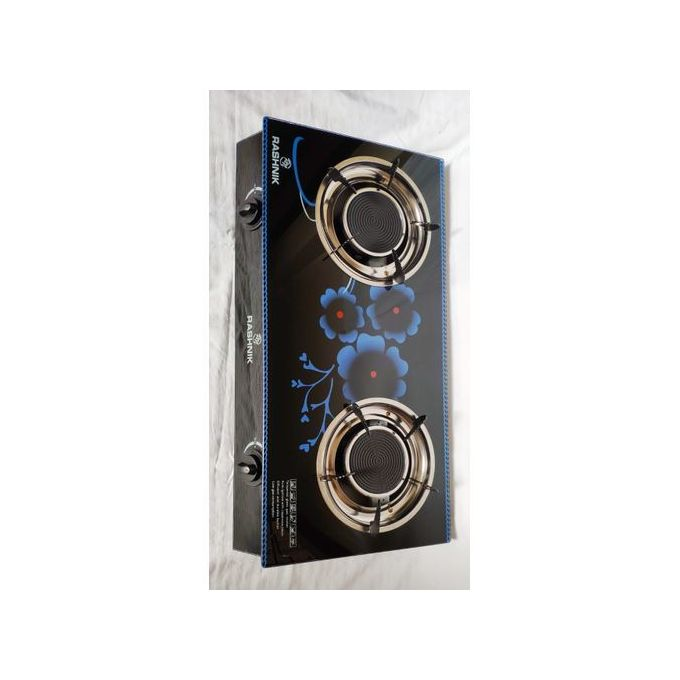 Rashnik 2 Burner Glass Top And Double Burner - Black & Blue