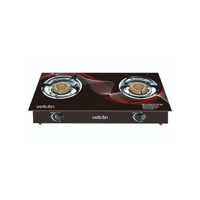 VELTON Two Burner Glass Top Gas Cooker - Black