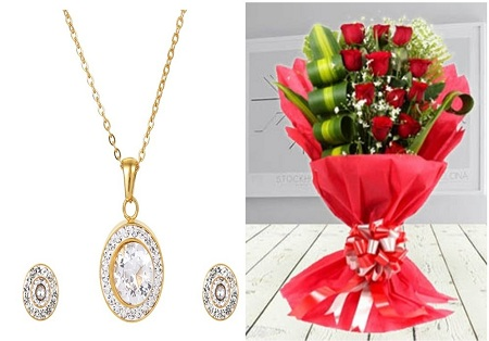 CarJay Jewels Valentines Combo-Gold Coated Necklace, an Earring Set, and Roses Bouquet