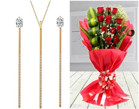 CarJay Jewels Valentines Combo-Gold Coated Necklace, an Earring Set and a Roses Bouquet