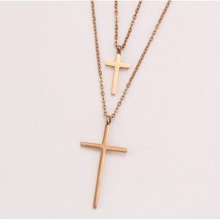 Carjay Jewels 18k Rose Gold Coated Stylish Cross Necklace