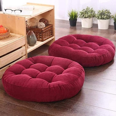 Generic Maroon Round Floor Pillow