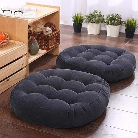 Generic Navy Blue Round Floor Pillow