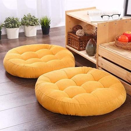 Generic Yellow Round Floor Pillow