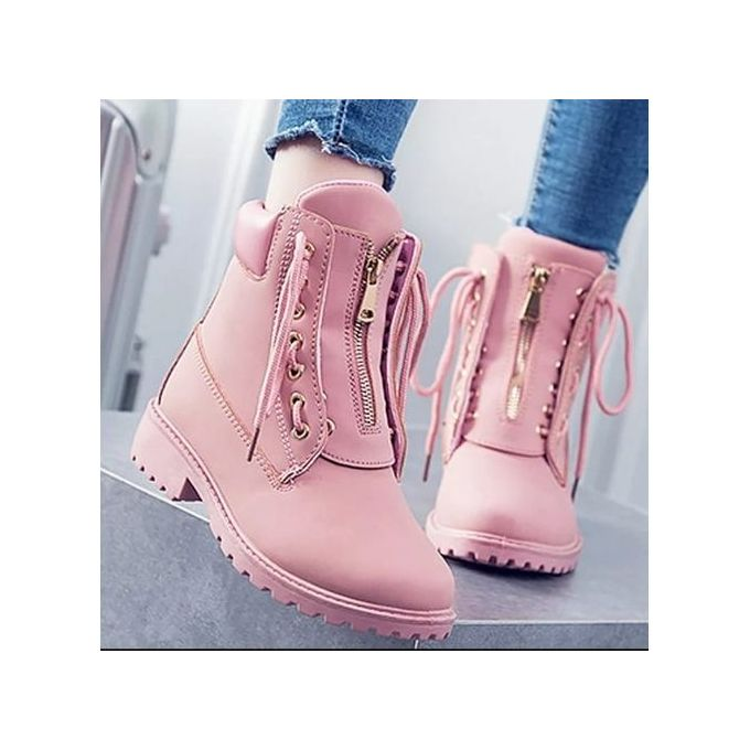 Fashion Flat Pink Ankle Boots For Ladies
