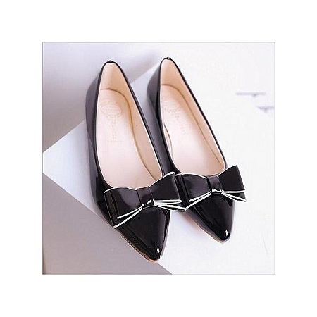 New female bow paint patent leather with red pointed fashion bright female flat shoes