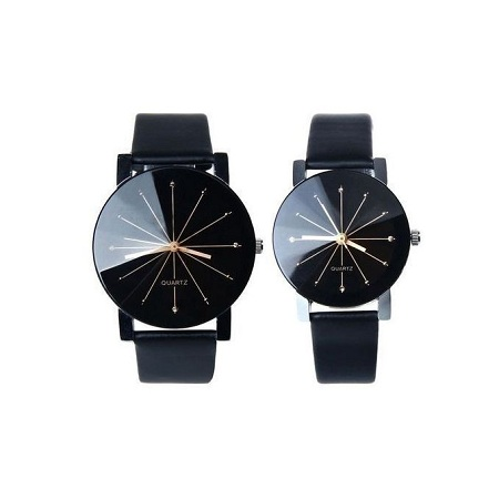 Fashion couple Quartz Dial Clock Leather Wrist Watch Black