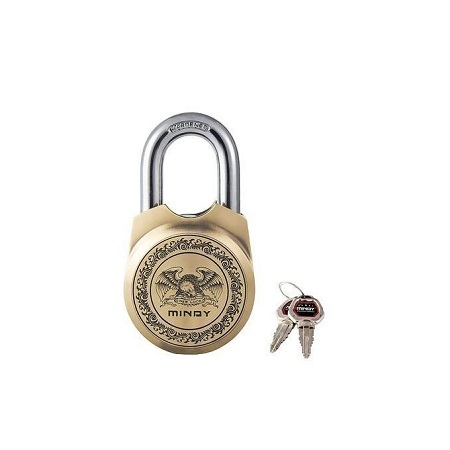 Mindy padlock-whit 4 keys- colour brass