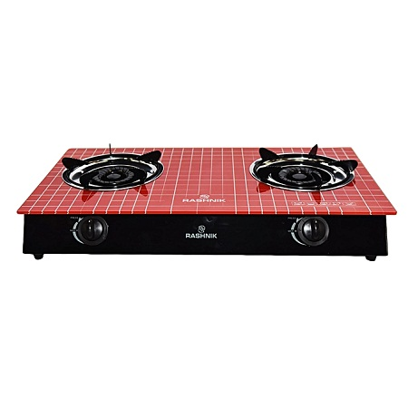 Rashnik RN/1511- 2 Burner Glass Gas Stove - Red
