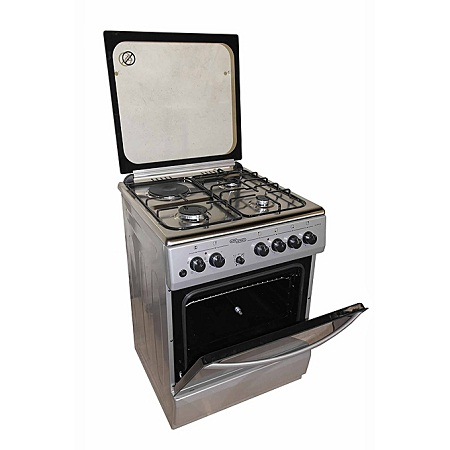 Super General SGC6470MS-Electric Cooker 60X60 with 3 Gas Burners + 1 Hot Plate-Stainless steel With Tempered Glass-TOP-GREY