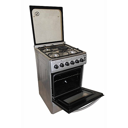 Super General SGC5470MS-Electric Cooker 50X55 with 3 Gas Burners + 1 Hot Plate- With Tempered Glass Top - Grey Inox