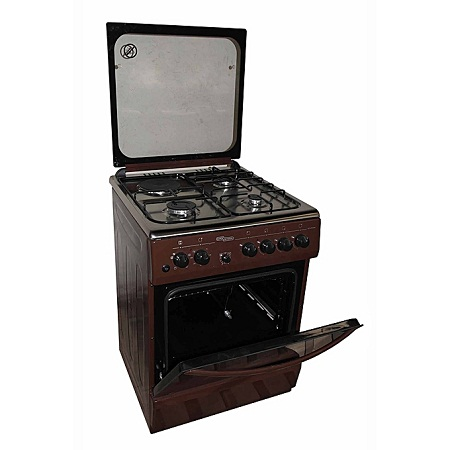 Super General SGC6470BRN-Electric Cooker 60X60 with 3 Gas Burners + 1 Hot Plate- With Tempered Glass Top -Brown