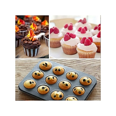 12-Hole Non-Stick Muffin / Cupcake Tray Baking Oven Tray Pan
