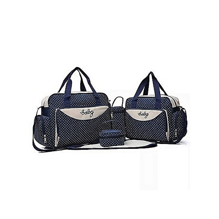 Generic Navy blue With White Polka Dots 5 In 1 Diaper Bag