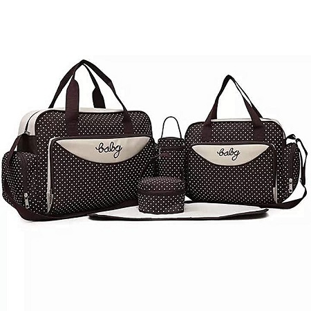 Generic Dope Dealer Brown With White Polka Dots 5 In 1 Diaper Bag With Changing Mat