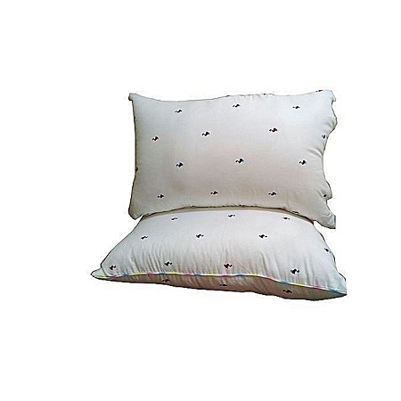 Generic White Bed Pillow with coloured dots (Pair- Pure fibre filled) - 20