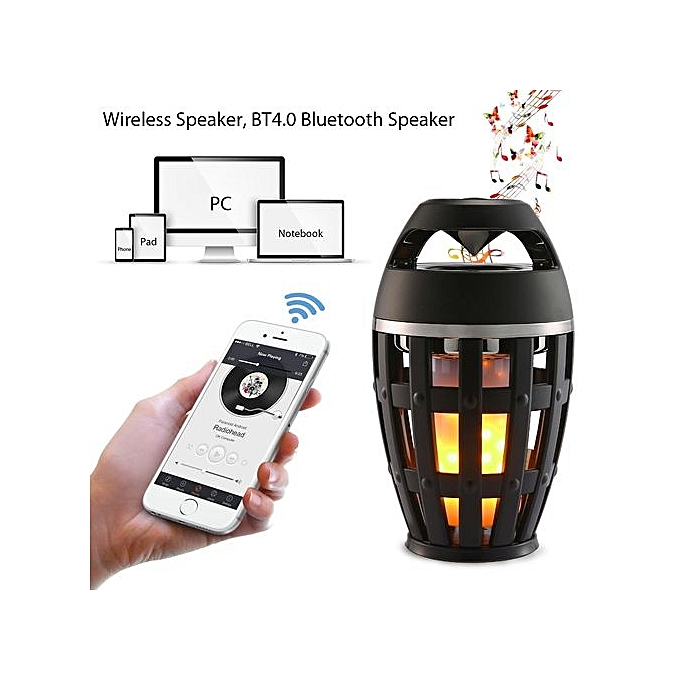 Generic Flame Atmosphere Portable Wireless Speaker With LED Flickers For Outdoor Camping - Black