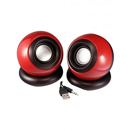 Generic Multimedia Speakers - 2.0 USB - Red