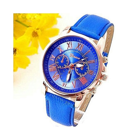 Generic Unisex Analogue Quartz Watch Leather Belt -Blue