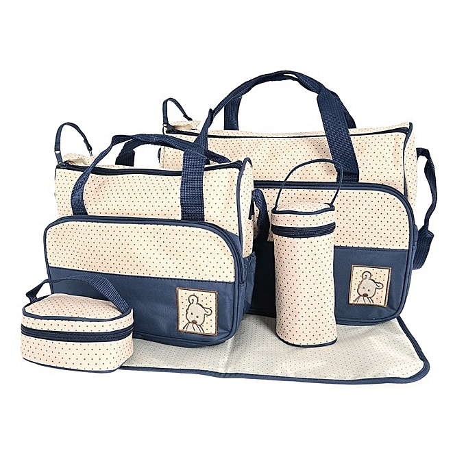 Diaper Bag 5 piece Set-Blue/beige