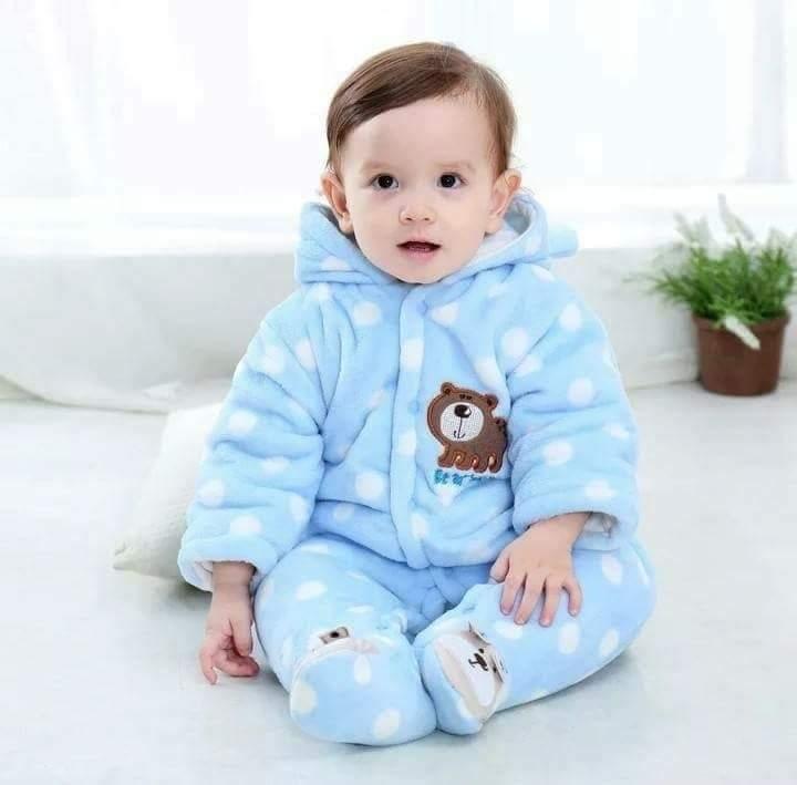 Blue warm baby romper