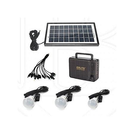 GDLITE GD-8006-A -Solar Lighting System with 3 bulbs - Black