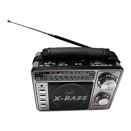 Sonitec Portable FM Radio With Torch memory CardSlot - Grey