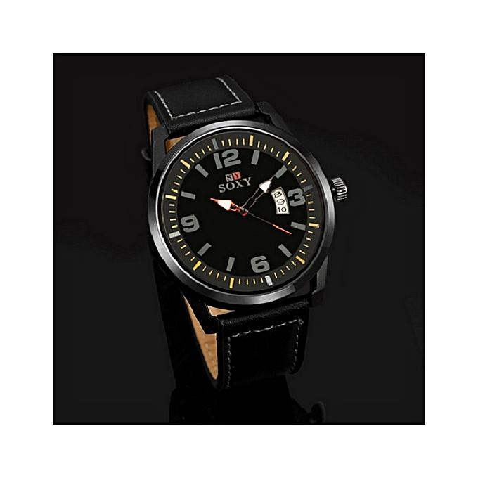 SOXY new brand men fashion sports watches male analog quartz waterproof auto date wristwatches black leather clock