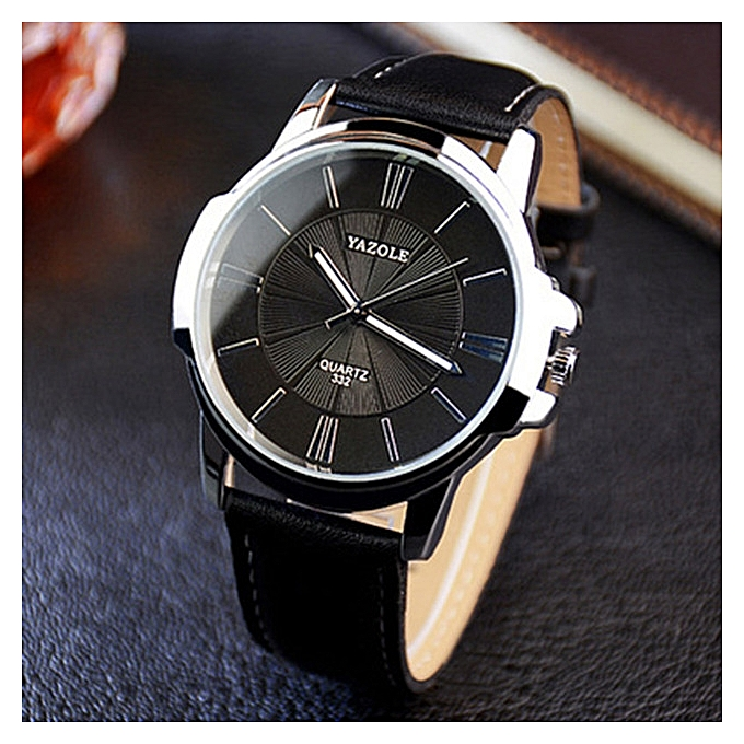 Yazole Men Luxury Stainless Steel Quartz Military Sport Leather Band Dial Wrist Watch