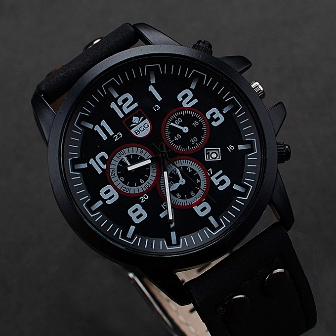 Generic Vintage Classic Mens Waterproof Date Leather Strap Sport Quartz Army Watch BK