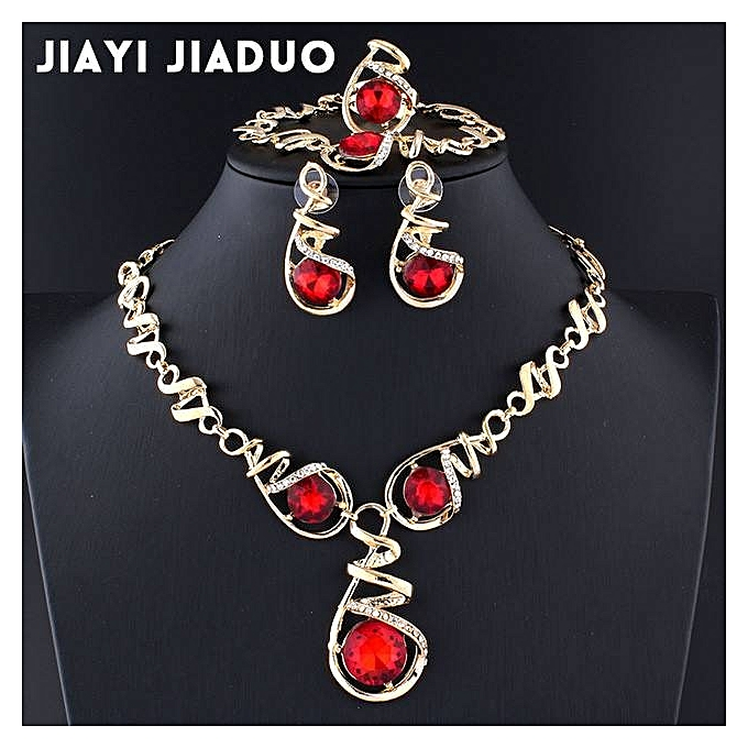Generic Women's Bracelet Necklace Jewelry Set Red Crystal Statement Ring Earrings Gold