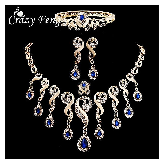 Generic Turkish Jewellery Silver Color Necklace Earrings Sets Jewellery multicolor