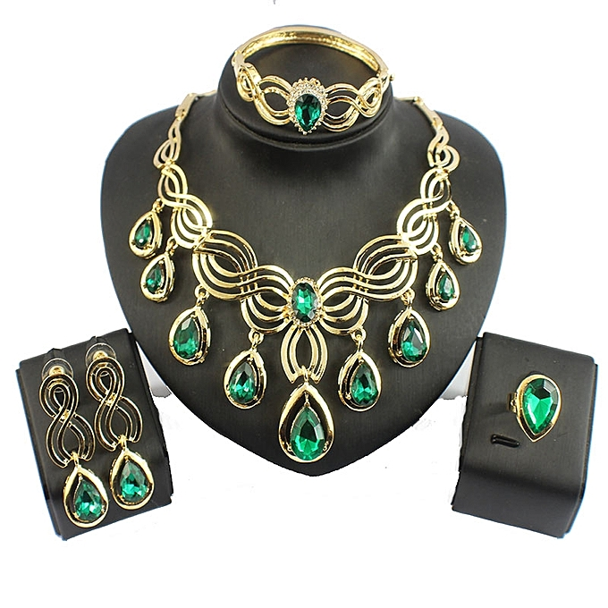 Generic High Quality Luxurious Austrian Crystal Jewelry Sets Gold