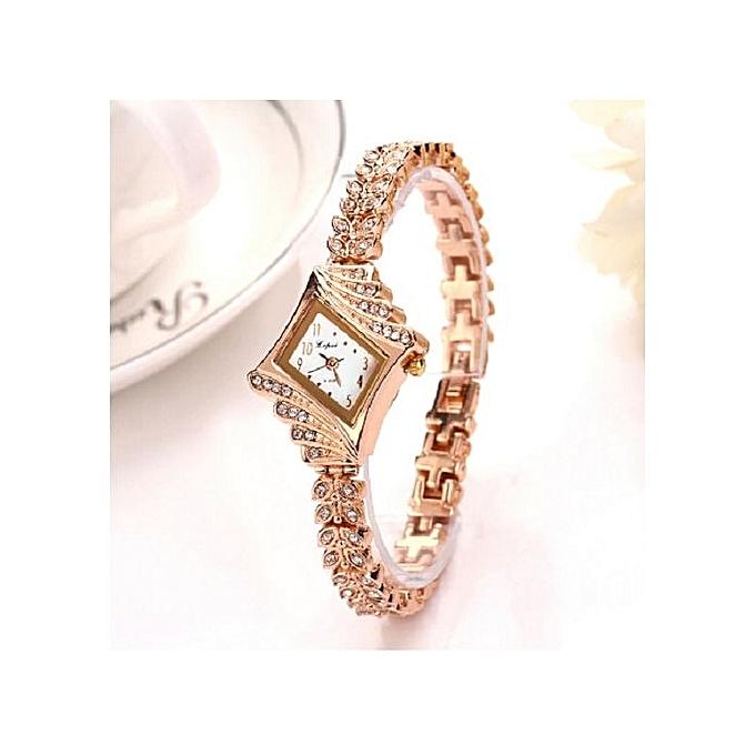 LVPAI Women Watches Luxury Crystal Bracelet Gemstone Wristwatch Dress Watches Women Ladies Gold Watch Fashion Female Brand Watch Gold