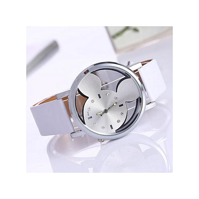 Generic relogio feminino 2017Fashion Mickey Women Watches quartz casual transparent hollow dial leather wristwatches women dress watch White
