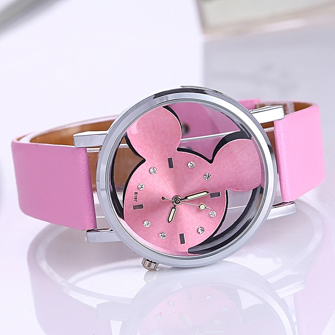 Pinbo relogio feminino 2017Fashion Mickey Women Watches quartz casual transparent hollow dial leather wristwatches women dress watch Pink