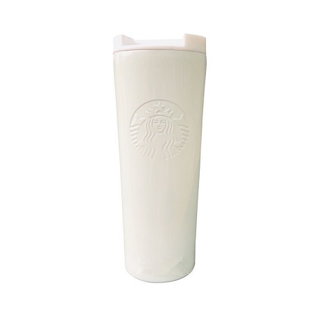 White Starbucks Etched Stainless Steel Tumbler 16 Ounce