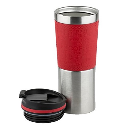 BrunHoff Vacuum Insulated Stainless Steel Travel Mug - Double Waled and Leakproof 480 ml - Red and silver