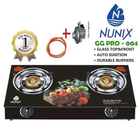 Nunix Glass Table Top Double Burner Gas Stove + Pipe & Regulator