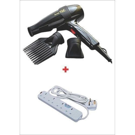 Ceriotti Super GEK 3000 Hairdryer - 1700W - Black With Heavy Duty 4-Way Socket Extension Cable - White