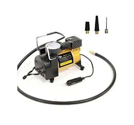 Air Compressor With Pressure Gauge And Three Nozzle Adapters, Portable Metal Cylinder Tire Inflator